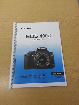 Canon Eos 400D Full User Manual Guide Instructions Printed 180 Pages A5