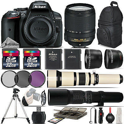 Nikon D5300 DSLR Camera + 18-140 VR Lens + 650-1300mm Lens + 500mm - 5Lens Kit