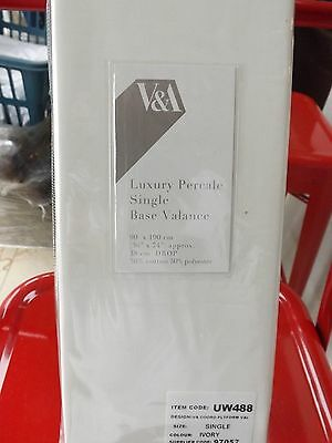 V & A Luxury Percale Single Base Valance - Ivory - Brand new in Pack
