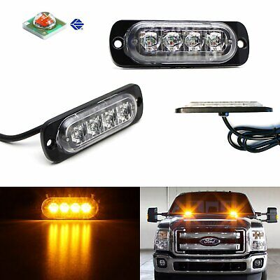 2pc Amber CREE 4-LED Strobe Warning Light Flashers For Truck Trailer Pick-up SUV