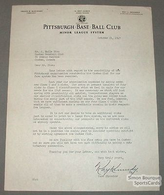 1947 Ray Kennedy Pittsburgh Minor Baseball Signed Letter
