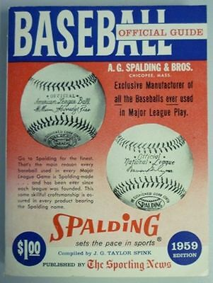 1959 Official Baseball Guide By The Sporting News