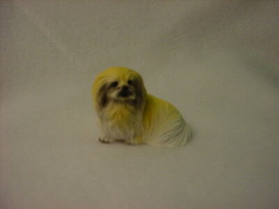 PEKINGESE puppy TiNY DOG Figurine HAND PAINTED MINIATURE Small Mini resin Statue
