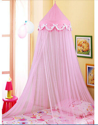 Pink Princess Dome Bowknot Mosquito Net Decorative Insect Twin Queen Crib Canopy