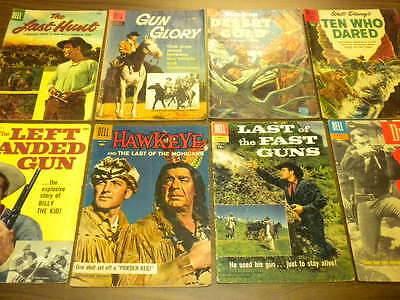 (8) WESTERN MOVIE TV comic books ALL DELL FOUR COLOR SERIES 1950's lot