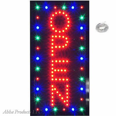 "Bright Colorful Vertical Flashing LED Open Business Window Sign 19x10"" neon"