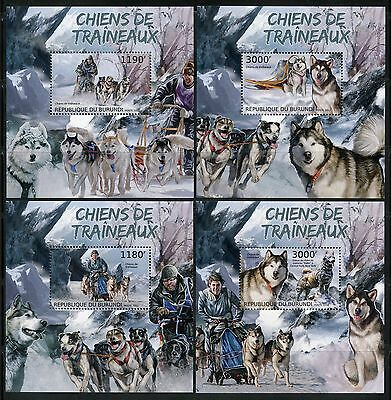 Burundi 2012 Sled Dogs Huskies  Set Of Four Deluxe  Souvenir Sheets  Mint Nh