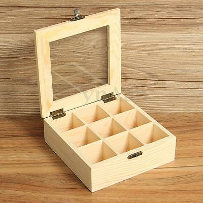 9 Compartment Section Wooden Tea Box Jewelry Storage Container Chest Glass Lid