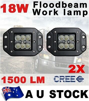2X Cree 18W FLOOD LED Work Light Driving Lamp Truck Boat Flush Mount AU STOCK