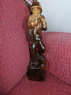 Vintage/ Antique Hand Carved Russian? Woodcutter Sculpture Great Patina Heavy