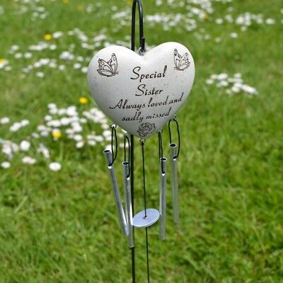 Special Sister Always Loved Sadly Missed Memorial Heart Wind Chime Graveside