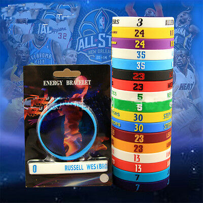 Popular Silicone Wristband Basketball Star ID Bracelet Rubber Hand Band 2PCS New