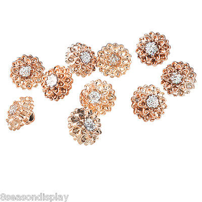 50PCs Rose Gold Rhinestone Round Shank Buttons Clothes Accessories 12mm