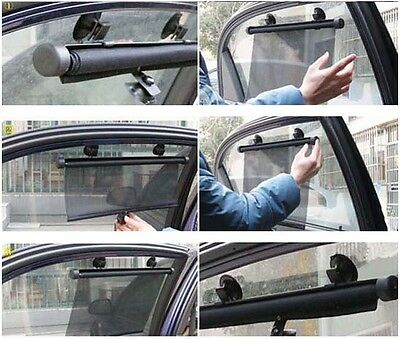 A Pair Car Window Sun Shade Roller Blind Screen Protector Protection Children