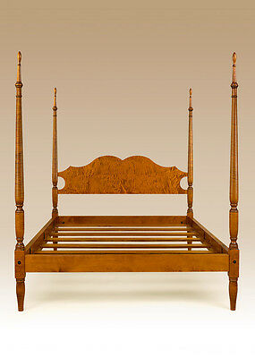 Bed and Stand - Bedroom Set - Traditional Style Furniture - Tiger Maple Wood