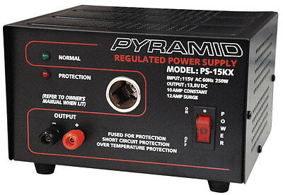 New Pyramid PS15K 10 Amp Power Supply w/Cigarette Lighter Plug