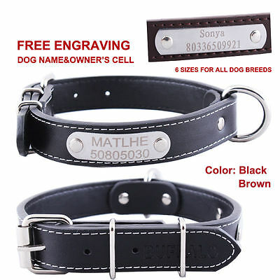 Optional Personalized Engraved ID TAG Leather Dog Collar Custom Name Metal Tag