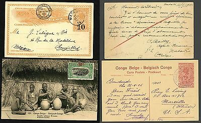 Belgian Congo ~ Postal Stationery Postcard X2 ~  VIEW CARD With Up Rate