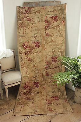 Antique French country Curtain panel Autumnal tones c 1880 fall muted  drape