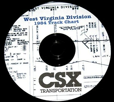 CSX Railroad 1984 West Virginia Division Track Chart Diagram PDF Pages on DVD