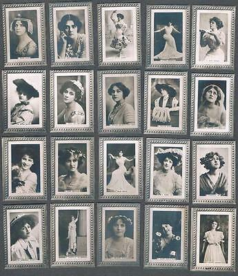 1910 ITC C90 Actresses Framed Border Tobacco Cards Complete Set of 50