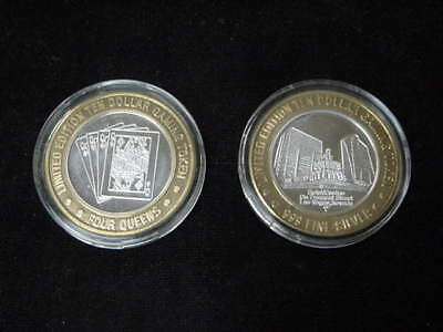 2-FOUR QUEENS $10 Limited Ed. .999 Silver Gaming Tokens