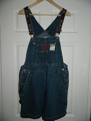 "VINTAGE BLUE DENIM 1990s BUM EQUIPMENT SHORT DUNGAREES nineties L - 34"" waist"