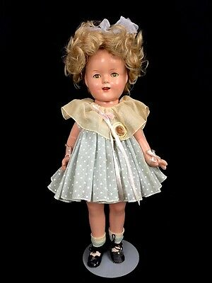 """Vintage 1930s Shirley Temple Ideal Composition Doll Blue Polka Dot Dress Pin 17"""""""