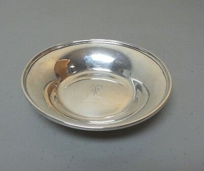 """ANTIQUE STIEFF STERLING SILVER SMALL 5"""" CANDY DISH / BOWL, MONOGRAM, 95 grams"""