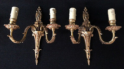 Antique and pretty pair of wall sconces in bronze french style
