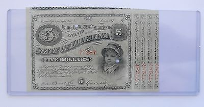 Early 1880's State of LOUISIANA $5 Interest-Bearing Bond~~Real Nice & Pretty