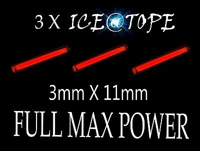 ICEATOPE 3 X ICE GREEN GTLS Isotopes Betalights 1.5mm X 10mm FULL MAX POWER carp