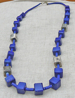 Lapis lazuli Native American carved and heishi and sterling silver necklace