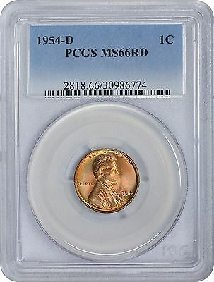 1954-D Lincoln Cent MS66RD PCGS 66 Red Mint State