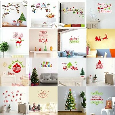 Christmas Wall Paper Art Removable Home Vinyl Window Wall Stickers Decal Decor