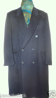 MENS L 44R $600 CASHMERE LONG COAT Large Dk BLUE Double breasted Overcoat Jacket
