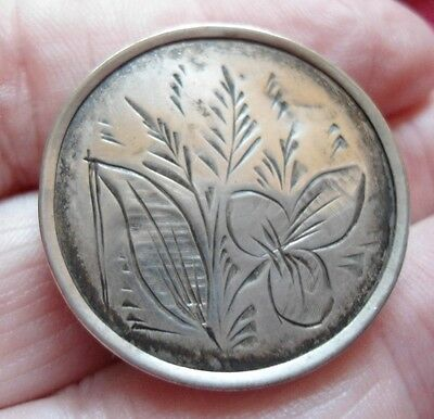 Victorian Aesthetic Movement Sterling Silver Brass Backed Foliate Brooch Ag14