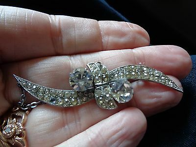 Unusual Art Deco Sparkly Chrome Backed Crystal Set Double Wing Brooch + Safety