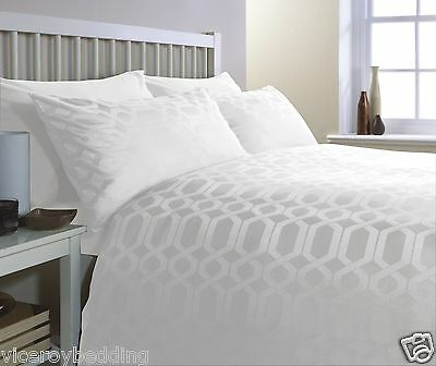 100% Egyptian Cotton GEO King Bed Size 300 Thread Count Duvet Cover Set WHITE