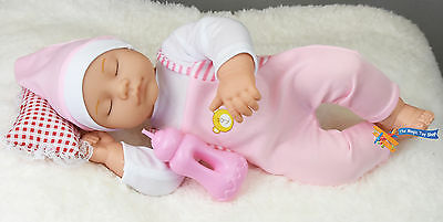 """14"""" New Born Sleeping Baby Doll With Sounds Pillow & Feeding Bottle Gift Toy"""