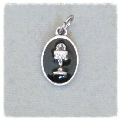 BLACK 1st First Communion Chalice Charm ITALY Holy Medal for rosary finsh SILVER