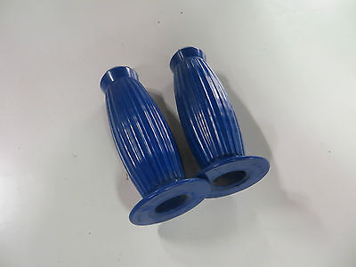 Vespa Handle Bar Grips Set Biemme Metalplast  New Old Stock In Blue 22/24Mm