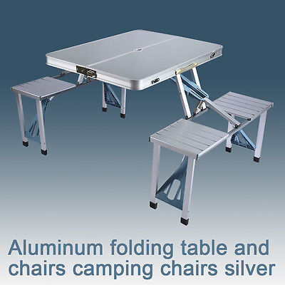Aluminium Portable Folding Camping Picnic Party Table Outdoor BBQ Chairs Stools