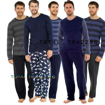 Mens Pyjamas Long Sleeve Top Trousers Pjs Nightwear Cotton Lounge Wear HT227M