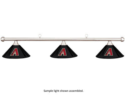 MLB Arizona Diamondbacks Black Metal Shade/Chrome Bar Billiard Pool Table Light