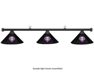MLB Philadelphia Phillies Black Metal Shade/Black Bar Billiard Pool Table Light