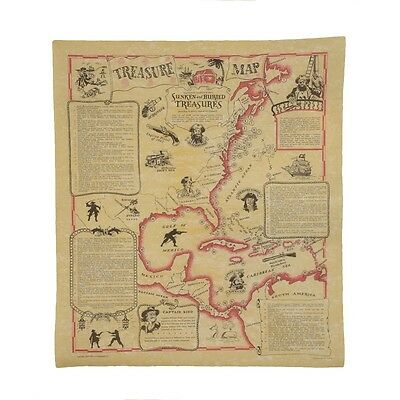 Sunken Buried Treasure Shipwreck Map Pirates Captain Kidd Blackbeard Calico Jack