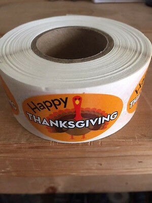 "2"" X 1"" Happy Thanksgiving Labels 500 Per Roll Great Stickers"