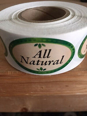 "1.25"" X 2"" All Natural Labels 500 Per Roll Great Stickers"