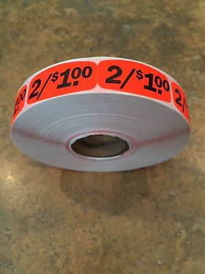 "1.25"" x .625"" 2/$1.00 MERCHANDISE LABELS 1000 PER ROLL FL RED BLACK STICKER"